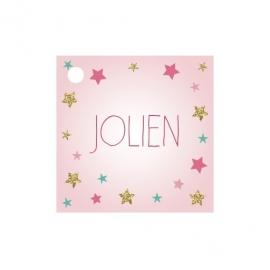 Geschenkkaartje passend bij de uitnodiging met sterren en glitters