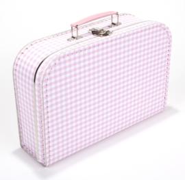 Koffertje 30cm | roze - wit RUIT
