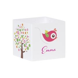 Wikkel met kleurrijke boom en roze vogel