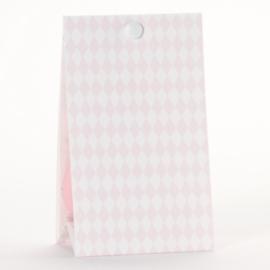 Snoepzakwikkel vichy roze - wit