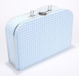 Koffertje 30cm | lichtblauw - wit RUIT