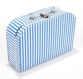 Koffertje 30cm | aquablauw - wit STREEP