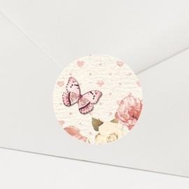 Sluitzegel passend bij de uitnodiging met bloemen en hartjes