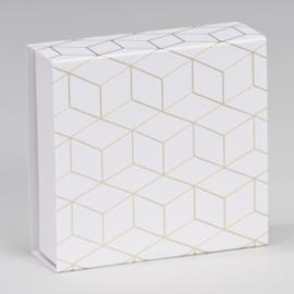 Luciferdoosje geometrisch patroon in goudfolie