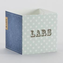 Wikkel voor kubus met sterren en jeansmotief