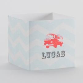 Wikkel voor kubus met flashy oranje minibus