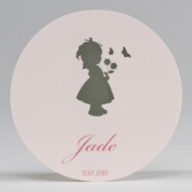Grote ronde sticker silhouet meisje roze