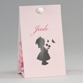 Snoepzakwikkel met silhouet meisje roze