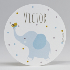 Grote ronde sticker blauwe olifant