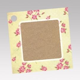 Geschenkkaartje passend bij de uitnodiging op kraftpapier met roosjes