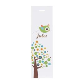 Lang label kleurrijke boom jongen