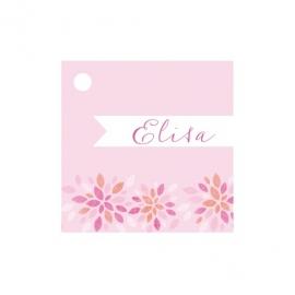 Geschenkkaartje passend bij de uitnodiging met grafische bloemen