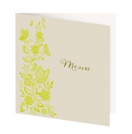 Menukaartje passend bij de uitnodiging met frisgroene bloemenprint