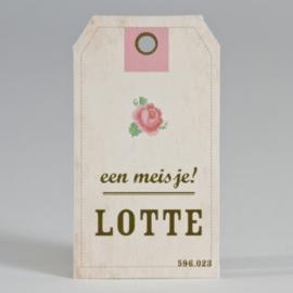 Label met roosje