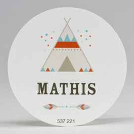 Grote ronde sticker tipi