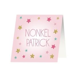 Tafelkaartje passend bij de uitnodiging met sterren en glitters