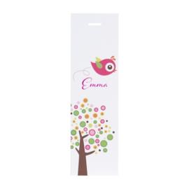 Lang label kleurrijke boom met roze vogel