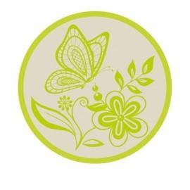 Sluitzegel passend bij de uitnodiging met frisgroene bloemenprint