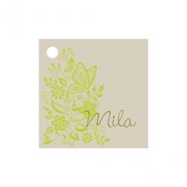 Geschenkkaartje passend bij de uitnodiging met frisgroene bloemenprint