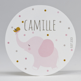 Grote ronde sticker roze olifant