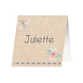 Tafelkaartje passend bij de uitnodiging op kraftpapier met ballon
