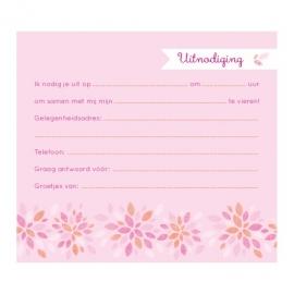 Uitnodiging communie met kleurrijke, grafische bloemen
