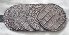 Onderzetters  croco zwart/brons