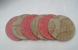 Onderzetters rond roze/goud - beige
