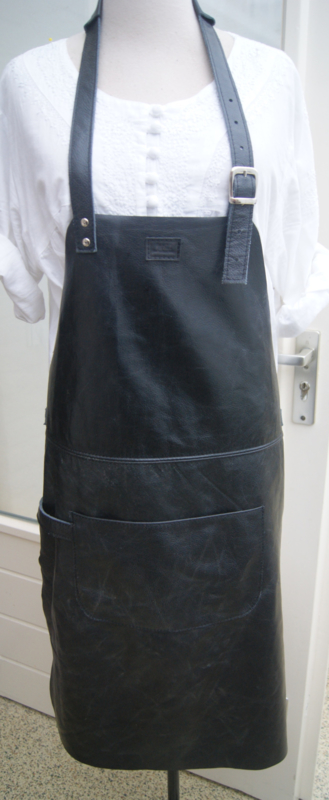 BBQ schort  zwart (gerecycled leer)