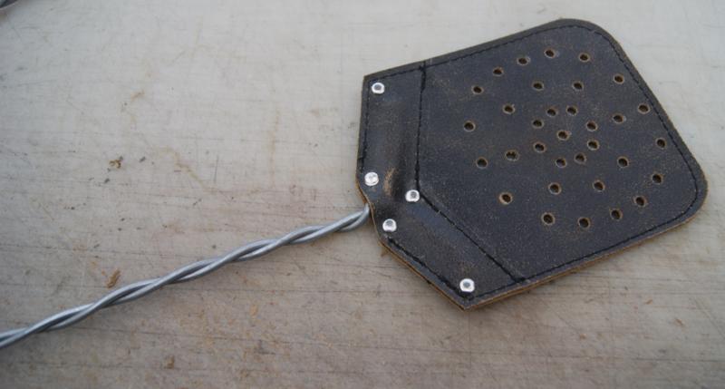 Vliegenmepper van leer Vintage zwart