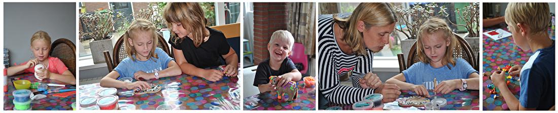 kinderfeestjes, knutselen, creatief, foam clay, 3d-verf, confetti op tafel