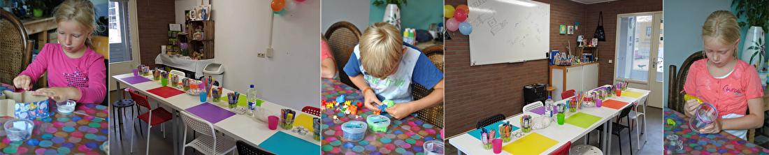 kinderfeestjes, knutselen, kinderen, confetti op tafel