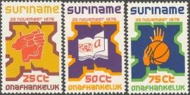 Suriname Republiek   1/3 Onafhankelijkheidzegels 1975 Postfris