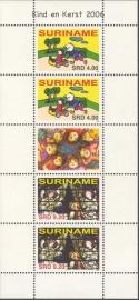 Suriname Republiek 1401/1402VBP Kinder en Kerst zegel 2006 Postfris (Compleet vel)