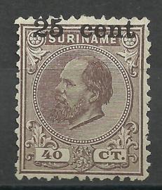 Suriname  37a 25ct op 40ct (Hoogstaande Opdruk) 1873-1888 Hulpuitgifte Ongebruikt