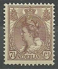 Nvph  61 7½ ct  Koningin Wilhelmina Bontkraag Ongebruikt