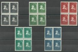 Nvph 300/304 Kinderzegels 1937 in Blokken van 4 Postfris