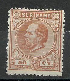 Suriname  13A (14 × 14) kleine gaten 50ct Willem III Ongebruikt (1)