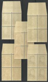 Nvph 318/322 Zomerzegels 1939 Postfris in randblokken