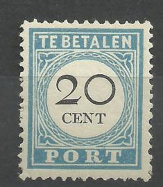 Port  10D 20 ct Cijfer  1881/1887 Type III 12½ × 12½ Postfris