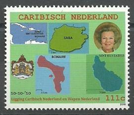 Caribisch Nederland     1 Wapen, Vlag en Landkaart Postfris