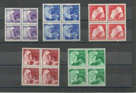 Nederlands Indië 241/245 Missiezegels in blokken van 4 Postfris (+ 245 PM)