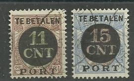 Postpakketverrekenzegels  1A/2A Gebruikt