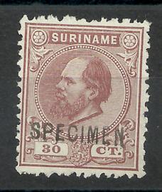 Suriname  11C (12½×12) 30 ct Willem III Ongebruikt + Opdruk SPECIMEN