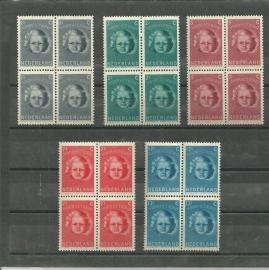 Nvph 444/448 Kinderzegels 1945 in Blokken Postfris