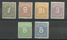 Nederlands Indië  17/22 Cijferzegels 1883/1890 Postfris (1) + Certificaat
