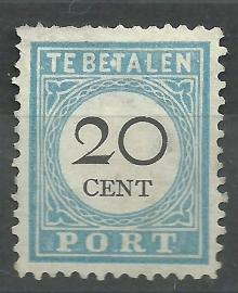 Port  10B 20 ct Cijfer  1881/1887 Type III 12½ × 12 Ongestempeld (+ E.T)