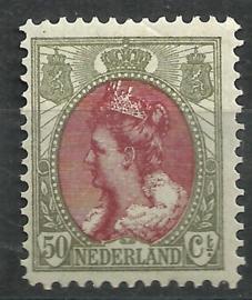 Nvph  74 50 ct  Koningin Wilhelmina Bontkraag Ongebruikt (3)