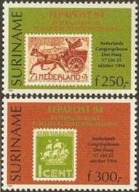 Suriname Republiek  820/821 Int. Postzegeltent. Fepapost 1994 Postfris