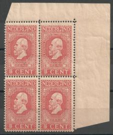 Nvph  90B 5 ct Jubileum 1913 in hoekblok  l.b. Postfris